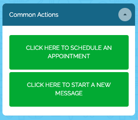 Common Actions menu with Click to Schedule and Click to Start a New Message buttons