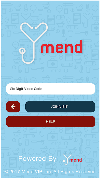 Mend Telemedicine App open to Enter Code page