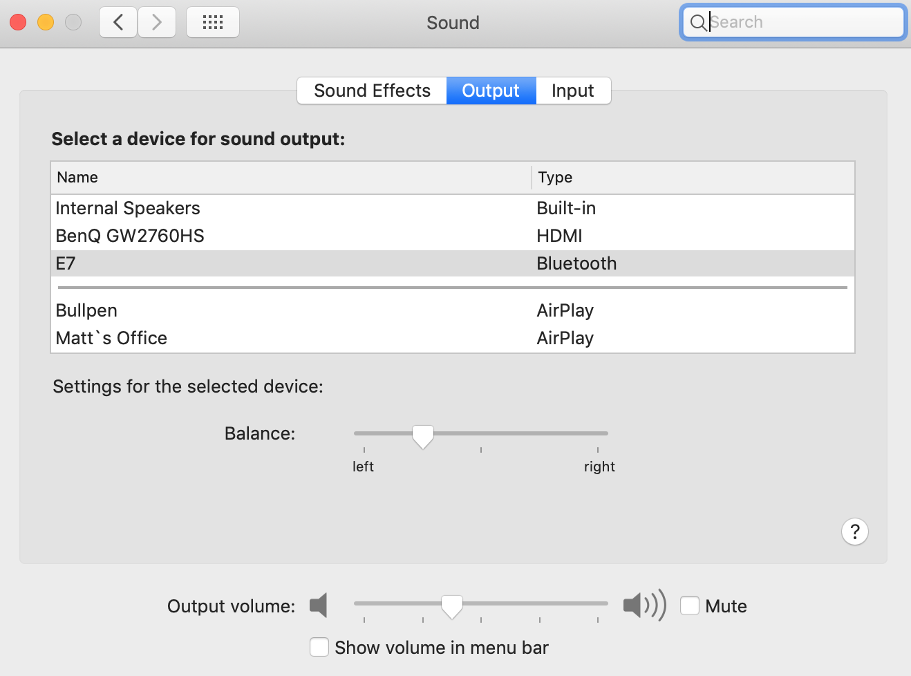 Mac Sound settings