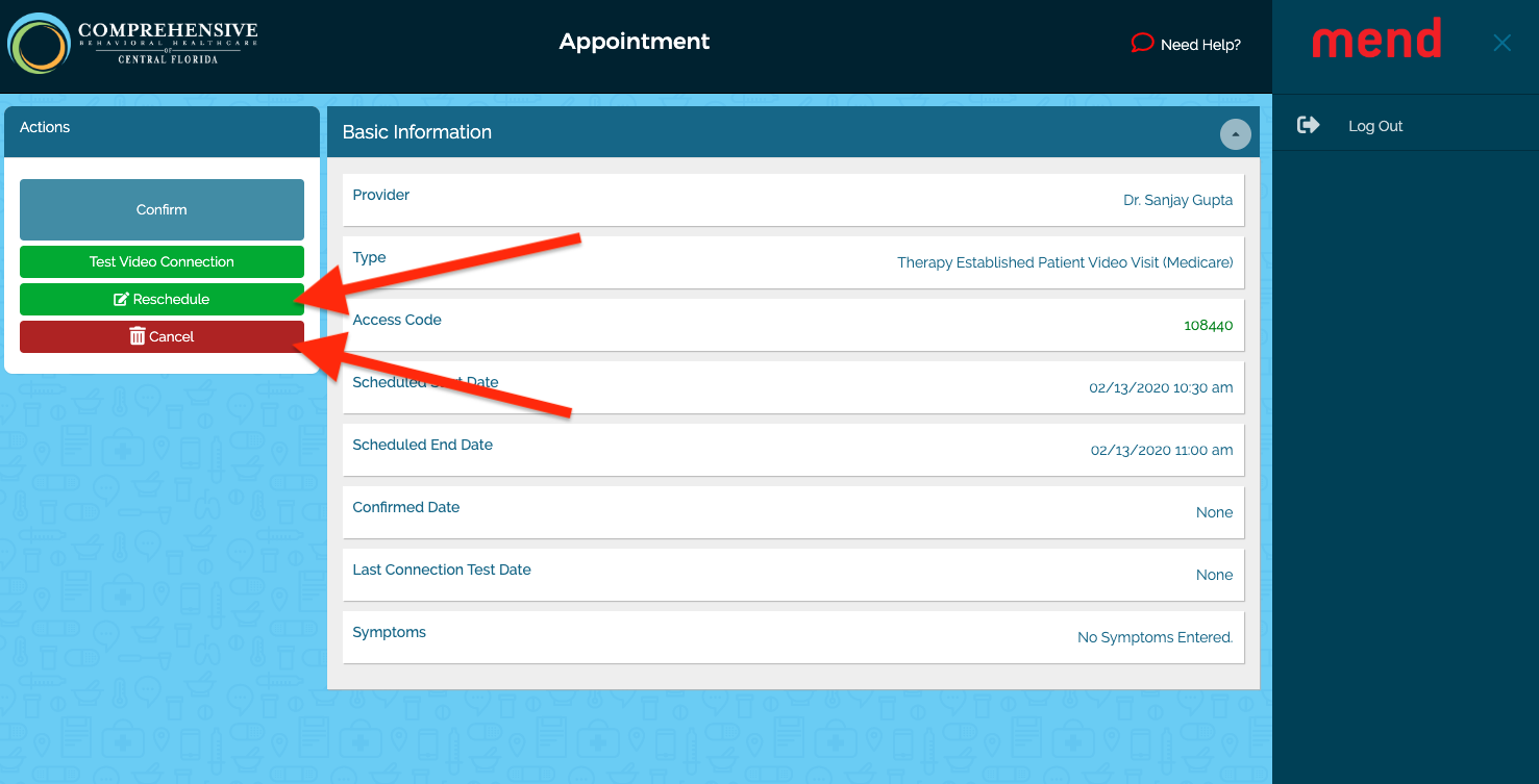 Appointment details, red arrows pointing to Reschedule and Cancel buttons on left